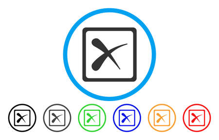 Reject rounded icon. Vector illustration style is a grey flat iconic reject symbol inside a circle. Additional color versions are black, gray, green, blue, red, orange.