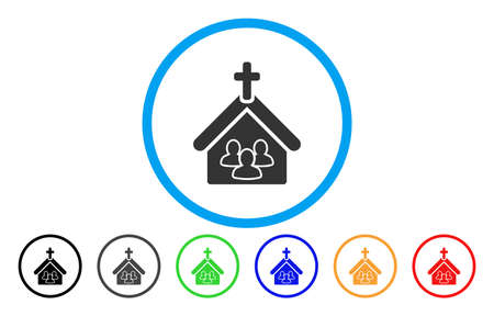 Church People rounded icon. Vector illustration style is a grey flat iconic church people symbol inside a circle. Additional color versions are black, gray, green, blue, red, orange.