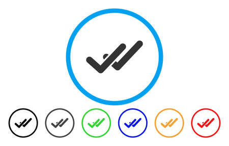 Validation rounded icon. Vector illustration style is a grey flat iconic validation symbol inside a circle. Additional color variants are black, gray, green, blue, red, orange. Illustration