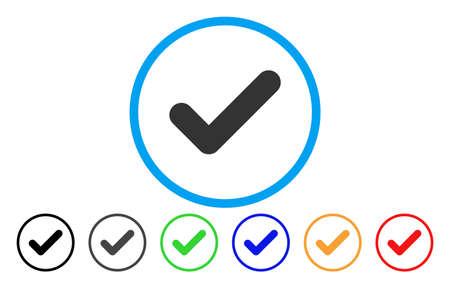 Sí icono redondeado. El estilo de la ilustración del vector es un símbolo sí gris plano icónico dentro de un círculo. Las variantes de color adicionales son negro, gris, verde, azul, rojo, naranja. Foto de archivo - 85208680