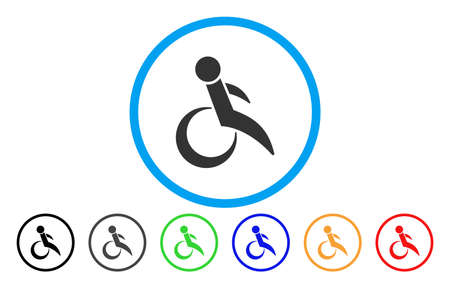 invalid: Wheelchair rounded icon. Vector illustration style is a grey flat iconic wheelchair symbol inside a circle. Additional color variants are black, gray, green, blue, red, orange.