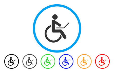Wheelchair rounded icon. Vector illustration style is a grey flat iconic wheelchair symbol inside a circle. Additional color variants are black, gray, green, blue, red, orange.