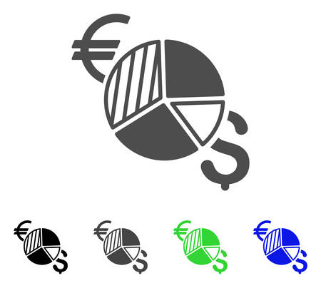 Currency Pie Chart icon. Vector illustration style is a flat iconic currency pie chart symbol with black, gray, green, blue color variants. Designed for web and software interfaces.
