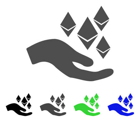Ethereum Offer Hand icon. Vector illustration style is a flat iconic ethereum offer hand symbol with black, gray, green, blue color versions. Designed for web and software interfaces.