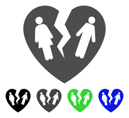 Broken Family Heart icon. Vector illustration style is a flat iconic broken family heart symbol with black, grey, green, blue color versions. Designed for web and software interfaces. Illustration