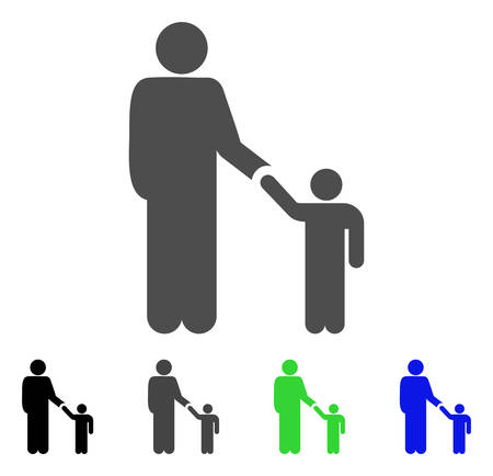 Father Child icon. Vector illustration style is a flat iconic father child symbol with black, grey, green, blue color variants. Designed for web and software interfaces. Stock Vector - 85273696