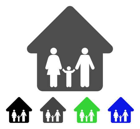 Icône de la maison familiale. Style d'illustration vectorielle est un symbole de maison familiale emblématique plat avec des variantes de couleur noir, gris, vert, bleu. Conçu pour les interfaces web et logiciels.