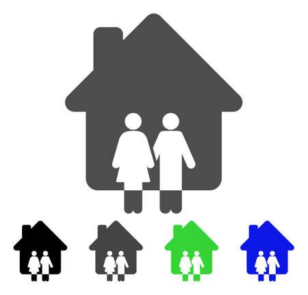 Icône de la maison de la famille. Style d'illustration vectorielle est un symbole de maison familiale emblématique plat avec des variantes de couleur noir, gris, vert, bleu. Conçu pour les interfaces web et logiciels.