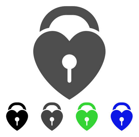 Love Heart Lock icon. Vector illustration style is a flat iconic love heart lock symbol with black, grey, green, blue color variants. Designed for web and software interfaces.