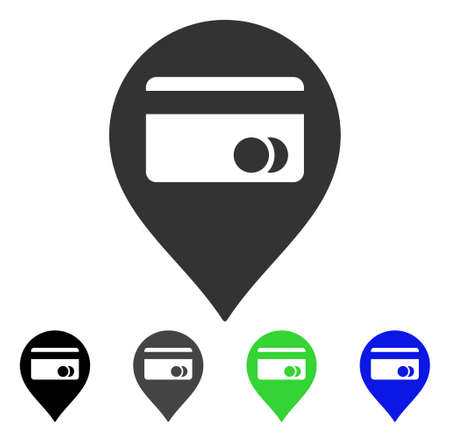 ATM Map Marker icon. Vector illustration style is a flat iconic atm map marker symbol with black, grey, green, blue color variants. Designed for web and software interfaces.