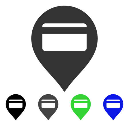 Credit Card Pointer icon. Vector illustration style is a flat iconic credit card pointer symbol with black, grey, green, blue color variants. Designed for web and software interfaces.