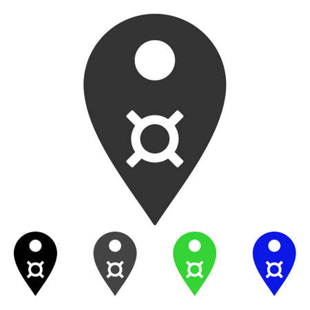 Currency Map Marker icon. Vector illustration style is a flat iconic currency map marker symbol with black, grey, green, blue color versions. Designed for web and software interfaces.