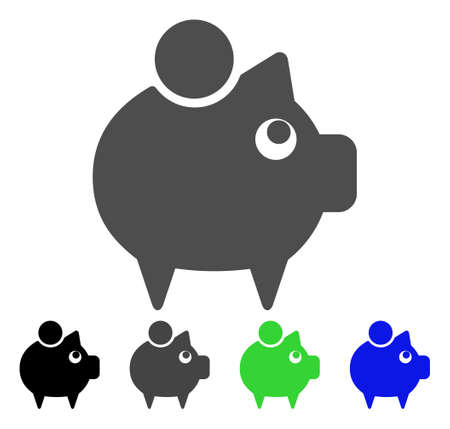 Piggy Bank icon. Vector illustration style is a flat iconic piggy bank symbol with black, gray, green, blue color versions. Designed for web and software interfaces.