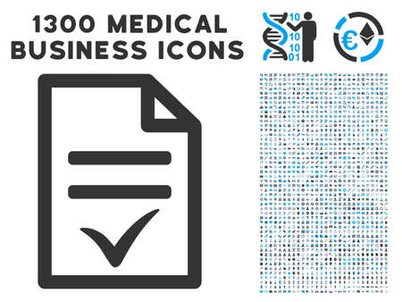 Acuerdo Documento icono de vector gris con 1300 iconos de negocios de salud. El estilo de la colección es pictogramas azules claros y bicolores planos bicolores. Ilustración de vector