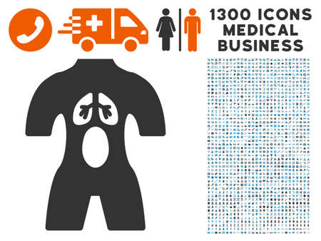 Anatomy gray vector icon with 1300 medical business pictographs. Clipart style is flat bicolor light blue and gray pictograms.