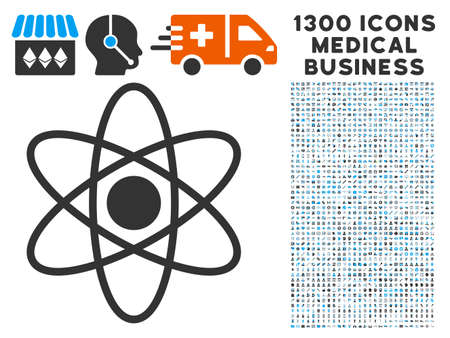 Atom gray vector icon with 1300 medical commercial icons. Collection style is flat bicolor light blue and gray pictograms.