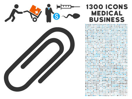 Attach Paperclip grey vector icon with 1300 healthcare commercial symbols. Collection style is flat bicolor light blue and gray pictograms.