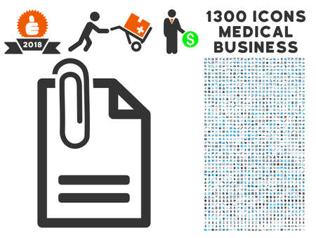 addition: Attached Document grey vector icon with 1300 doctor commerce pictograms. Clipart style is flat bicolor light blue and gray pictograms.