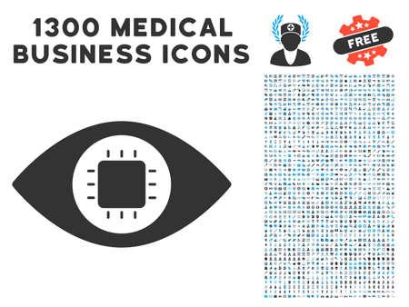 1300 医療商業シンボルでバイオニック目回路グレーのベクター アイコン。アート スタイルは、フラット二色の光青と灰色のピクトグラムです。