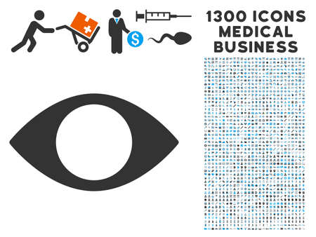 Blind Eye grey vector icon with 1300 clinic commercial icons. Set style is flat bicolor light blue and gray pictograms.
