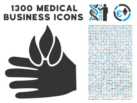 Burn Hand grey vector icon with 1300 healthcare commerce pictograms. Collection style is flat bicolor light blue and gray pictograms.