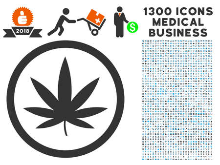 Cannabis gray vector icon with 1300 medicine commercial pictographs. Clipart style is flat bicolor light blue and gray pictograms.