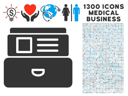 rolodex: Card Index grey vector icon with 1300 health care commerce symbols. Set style is flat bicolor light blue and gray pictograms.