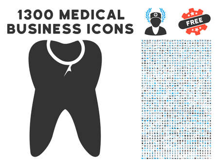 Caries Tooth gray vector icon with 1300 clinic commerce pictograms. Clipart style is flat bicolor light blue and gray pictograms. Illustration