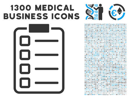 Checklist Pad gray vector icon with 1300 medicine commerce symbols. Clipart style is flat bicolor light blue and gray pictograms.
