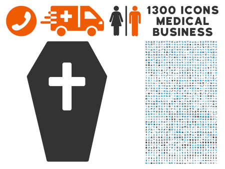 Coffin gray vector icon with 1300 medical business icons. Collection style is flat bicolor light blue and gray pictograms.
