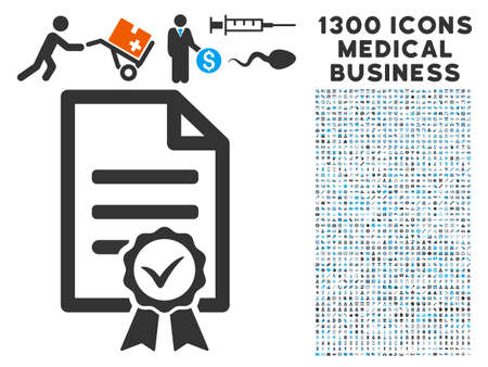 Contract paper grey icon with collection  of 1300 icons of medical business in flat style, light blue and gray pictograms. Illustration