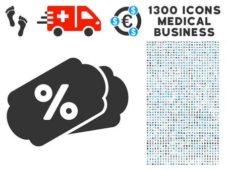 Discount Labels gray vector icon with 1300 medical business icons. Clipart style is flat bicolor light blue and gray pictograms.