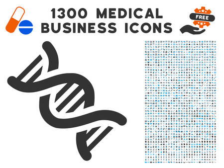 DNA gray vector icon with 1300 clinic commerce pictographs. Clipart style is flat bicolor light blue and gray pictograms.