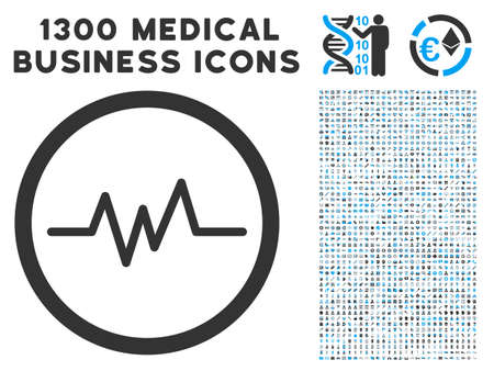 Echogram gray icon with collection  of 1300 icons of medical business in flat style, light blue and gray pictograms.