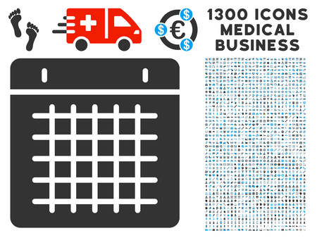 light duty: Duty Timetable gray icon with collection  of 1300 icons of medical business in flat style, light blue and gray pictograms. Illustration
