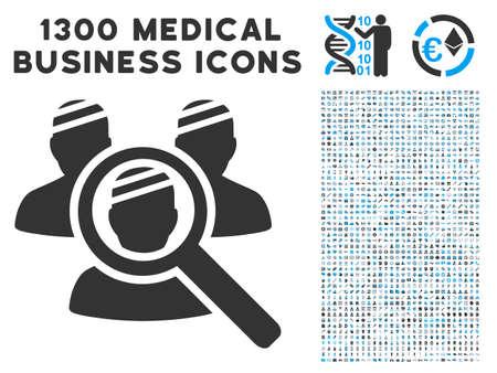 Explore Patients gray vector icon with 1300 medical business symbols. Set style is flat bicolor light blue and gray pictograms. Illusztráció