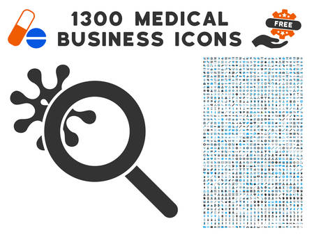 Explore Virus grey vector icon with 1300 clinic commerce pictographs. Collection style is flat bicolor light blue and gray pictograms.