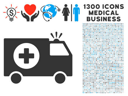 Emergency Car Grey Vector Icon With 1300 Clinic Commerce Pictographs