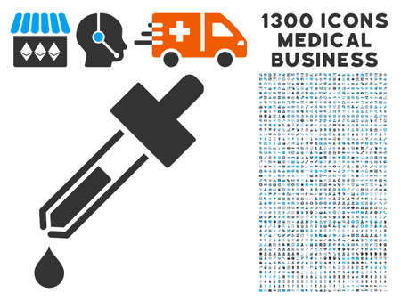 eye pipette: Dropper grey vector icon with 1300 medicine commerce pictograms. Set style is flat bicolor light blue and gray pictograms. Illustration