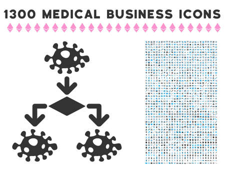 epidemy: Epidemic Growth Scheme grey vector icon with 1300 health care commerce symbols. Set style is flat bicolor light blue and gray pictograms.
