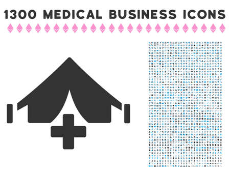 Field Hospital grey vector icon with 1300 medicine business pictograms. Set style is flat bicolor light blue and gray pictograms.