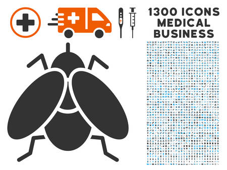 infected: Fly Insect gray vector icon with 1300 healthcare business pictographs. Collection style is flat bicolor light blue and gray pictograms.