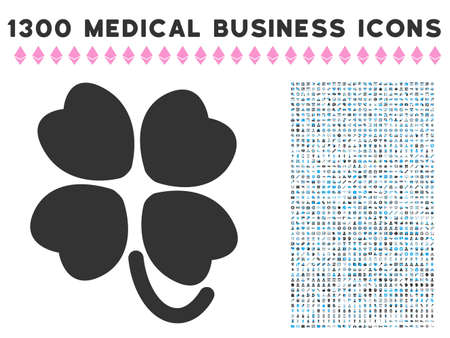 leafed: Four-Leafed Clover gray vector icon with 1300 medicine commercial pictograms. Collection style is flat bicolor light blue and gray pictograms.
