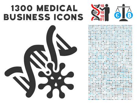 Genetics grey vector icon with 1300 health care commercial pictograms. Set style is flat bicolor light blue and gray pictograms.