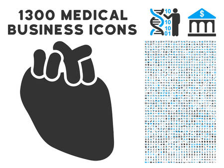 Heart Organ gray vector icon with 1300 doctor commercial icons. Collection style is flat bicolor light blue and gray pictograms. 向量圖像