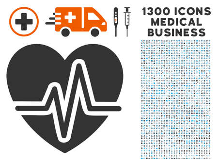 Heart Pulse grey vector icon with 1300 healthcare business symbols. Collection style is flat bicolor light blue and gray pictograms.