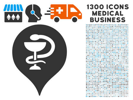 polyclinic: Hospital Map Marker grey vector icon with 1300 health care business icons. Collection style is flat bicolor light blue and gray pictograms.