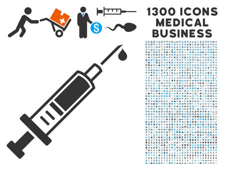Injection gray vector icon with 1300 medicine commerce pictographs. Collection style is flat bicolor light blue and gray pictograms.