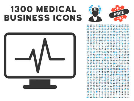 Line Chart Monitoring grey icon with collection of 1300 icons of medical business in flat style, light blue and gray pictograms.
