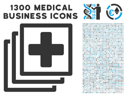 polyclinic: Medical Items grey vector icon with medicine business pictograms. Collection style is flat bicolor light blue and gray pictograms.